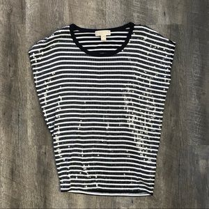 Michael Kors Xs Sequined Striped Top E18